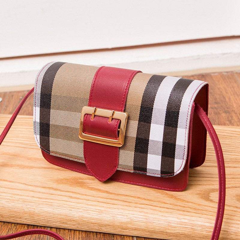 One Shoulder Women's Bag Retro Girl Color Contrast Leather Buckle Diagonal Straddle Bag Magnetic Buckle Stripe Mini Square Bag