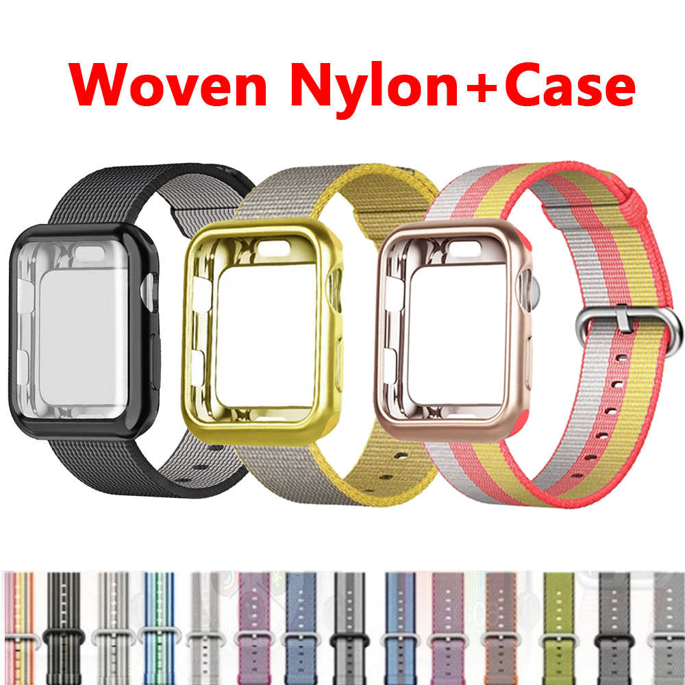 Case+strap For apple watch band Woven Nylon apple watch 4 3 band 44mm/40mm iwatch band 42mm/38mm correa bracelet watch Accessory