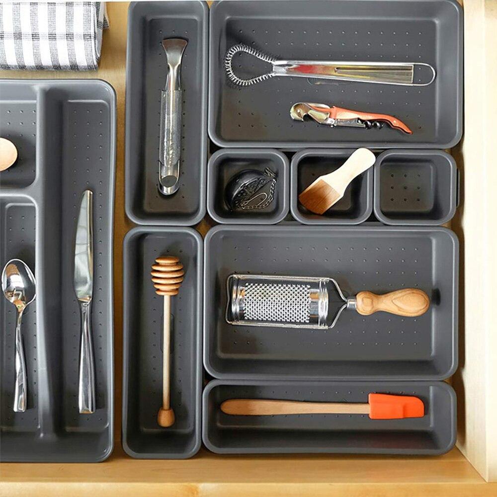 622.8руб. 30% СКИДКА|8 неглубоких ящиков, органайзер, разделители для кухни, ванной комнаты, макияжа, офиса, туалетного столика, ящика, органайзер, лоток, разделители|Ящики и баки для хранения| |  - AliExpress