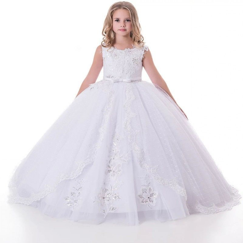 White Flower Girl Dresses For Wedding 2020 Lace Girls Pageant Gown Kids First Communion Princess Dresses