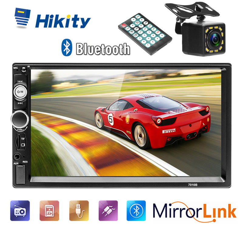 Hikity 1 din car radio Remote Control ISO connector support Bluetooth USB SD AUX IN Digital Stereo MP3 car player image