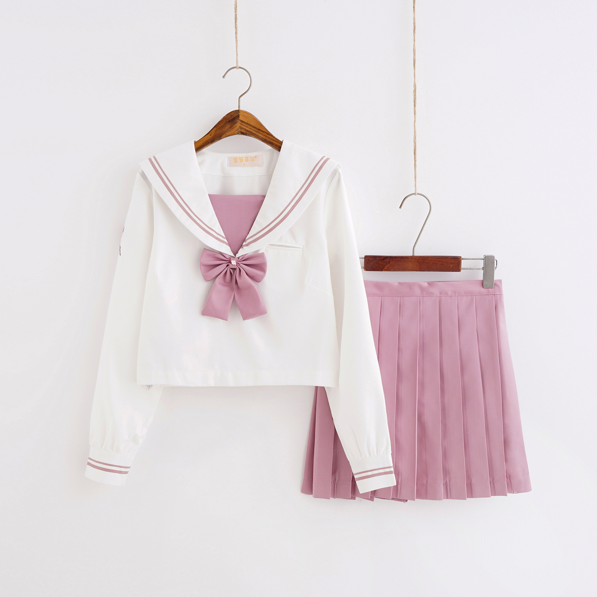 Japanese JK Uniform Pink Magnolia Embroidery Sailor Suit Student College School Uniform Long Sleeve Suit Women Pleated Skirt