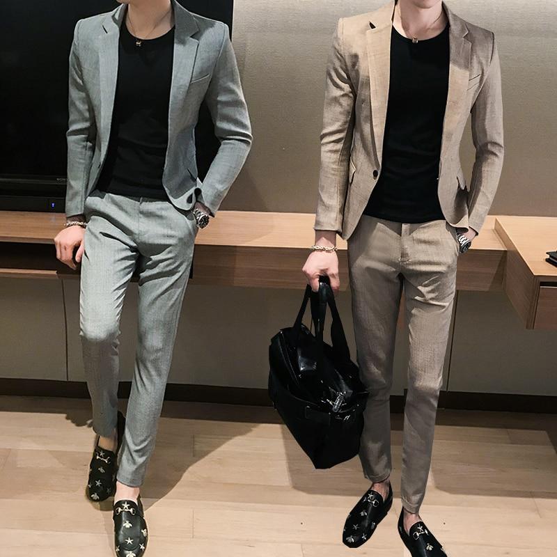 Grey Summer Slim Fit Blazer Men Slim Gents Suits Casual Mens Blazer Stylish 2020 Classic Traje Lentejuelas Youth Suits JJ60XX