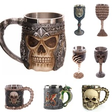 Helmet Mug Striking Coffee-Cup Stainless-Steel Gothic Skull 3D Knight Warrior Tankard