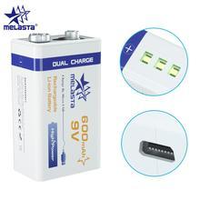 9V PPP3 6F22 Micro USB 600mAh lithium ionen akku für rauch alarm drahtlose mikrofon Gitarre EQ Intercom multimeter