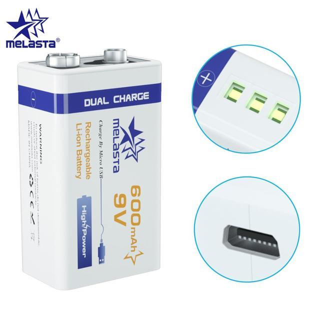 9V PPP3 6F22 Micro USB 600mAh ricaricabile agli ioni di litio batteria per il fumo di allarme senza fili microfono Chitarra EQ Citofono multimetro