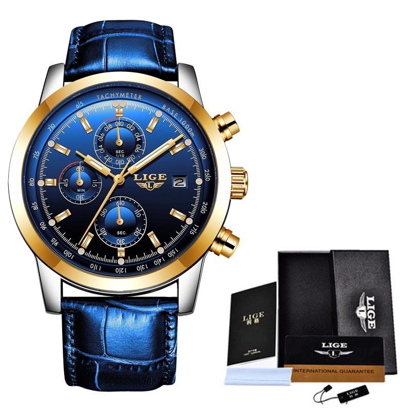 LIGE 2020 montre hommes mode Sport Quartz horloge hommes montres marque de luxe en cuir affaires étanche montre Relogio Masculino + boîte 5