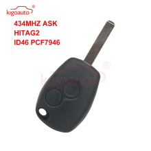 Kigoauto Remote car key 2 button 433Mhz VA6 blade PCF7946 ASK for Renault  Master Clio Twingo Modus Kangoo key whatskey 1 button remote car key shell fob case cover for renault twingo clio master scenic kangoo vac102 blade replacement