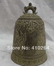 Kostenloser versand China Bronze Buddhismus Auspicious Alt 4 Belle Dragon Head Statue Tempel Glocke(China)