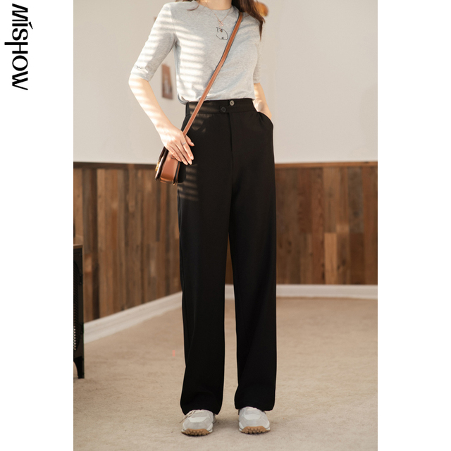 MISHOW 2020 Spring Pants For Women Elastic Solid High Waist Loose Straight Streetwear Fashion Female Trousers MX21A2673 4