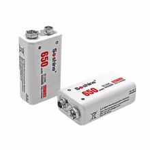Soshine 2pc 650mAh 9V 6F22 Li-ion Lithium Rechargeable Battery for Electronic Smoke Guitar