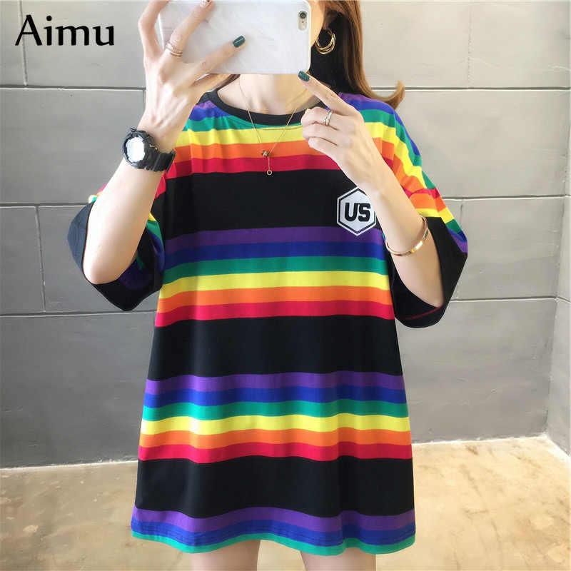 하라주쿠 여성 스트라이프 오버 사이즈 티셔츠 세련된 패션 90s 반소매 티셔츠 여성 캐주얼 탑스 의류 Streetwear Tees