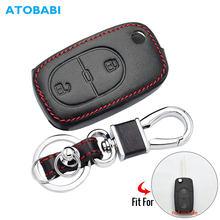 Deri araba anahtarı durum VW Audi için A2 A3 A4 A6 Flip uzaktan Fob kapak 2 düğmeler katlanır anahtarlık koruyucu çanta oto aksesuarları