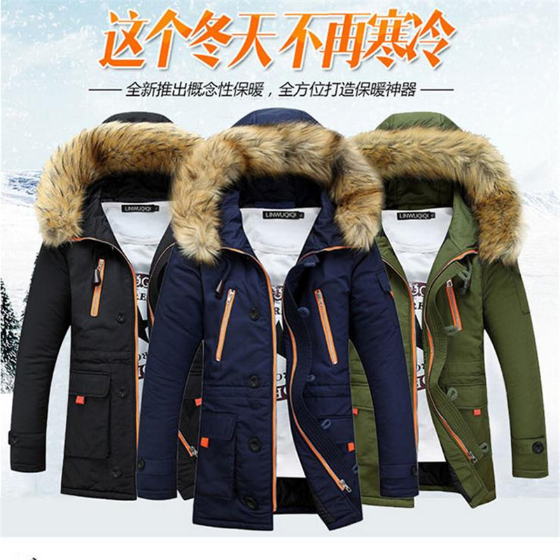 Winter Hot Selling Plus-sized Menswear Thick Hooded Cotton-padded Clothes Large Fur Collar Couples Cotton Coat Teenager Warm Sli