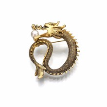 Gariton Gold Silver Simulated Pearl Metal Pin Vintage Dragon Brooch Jewelry Men Brosh Christmas Present