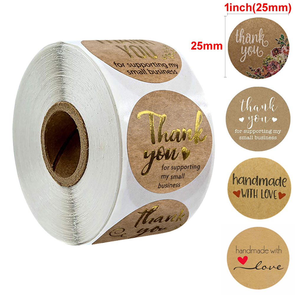 500pcs Per Roll Kraft Round Thank You Stickers Hot Stamping Seal Labels Cute Stickers Scrapbooking For Package Cookies Stickers