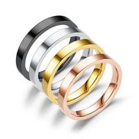 AsJerlya-Anillos finos de 3mm para mujer, joyería para hombre, Negro, Rosa, dorado, acero inoxidable, elegante, fiesta, regalo para enamorados
