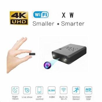 цена на Smart 4K 1080P HD Mini Camera Smallest  WiFi Camcorder IR Night Vision Micro Cam Motion Detection XW Car DVR
