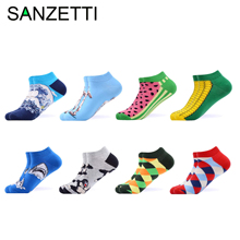 SANZETTI 8 Pairs/Lot Mens Summer Casual Happy Ankle Socks Colorful Combed Cotton Cocks Oil Watermelon Pattern Dress Boat