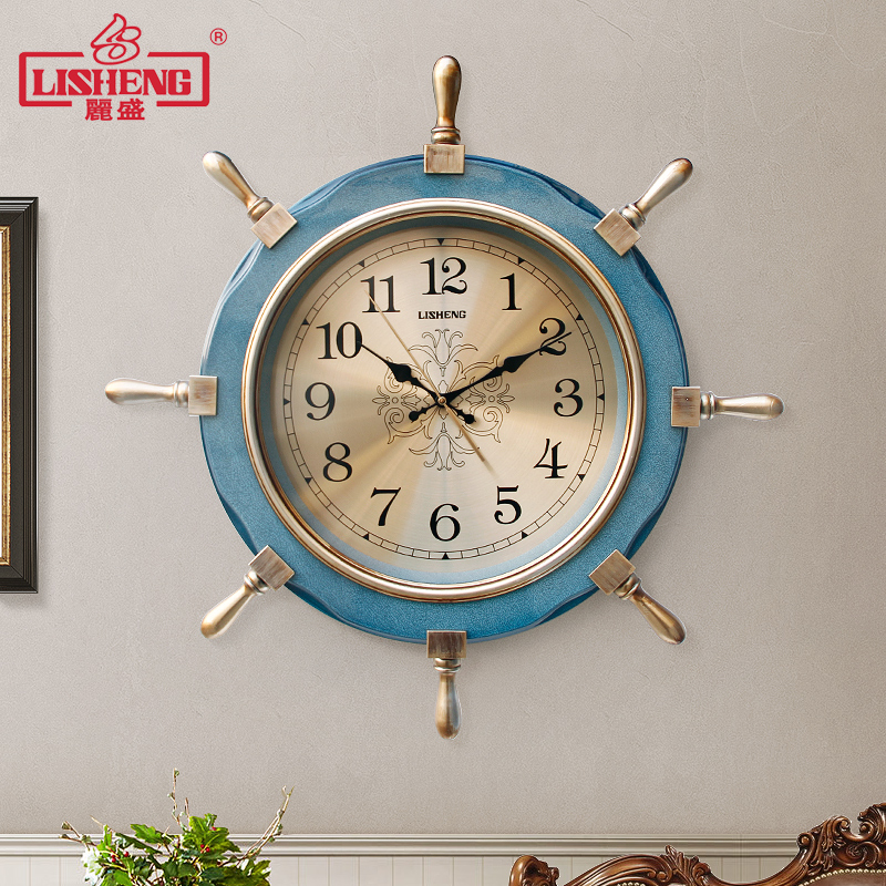 American Large Wall Clock Metal Vintage Silent Creative 66X66CM Clocks Living Room Home Bedroom Horloge Murale Home Decor SC346