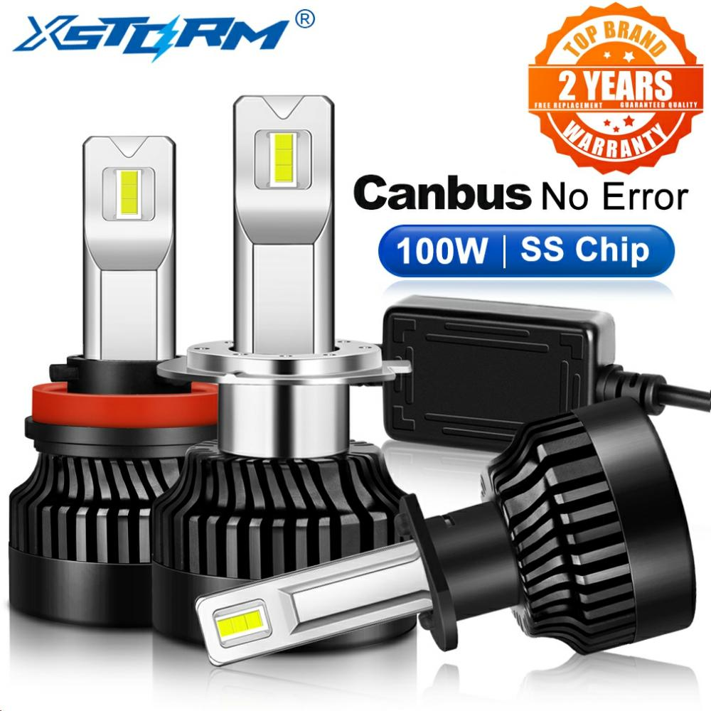 Farol de led para névoa h1 h4 h7, 2 peças 100 w 25000lm h7 led canbus h8 h11 9005 hb3 9006 hb4 9012 hir2 lâmpada turbo automotiva 12 v