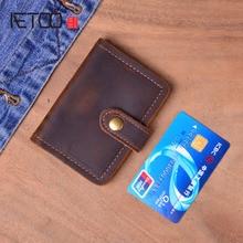AETOO Crazy Horse Genuine Leather Card Holder Men Vintage Handmade Short Business Credit Card Holders Mini Wallet Purse Case