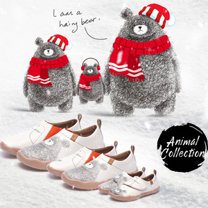 Image 2 - UIN דוב קטן עיצוב ילדים נעליים יומיומיות מיקרופייבר עור לבן נעלי ספורט עבור בנים/בנות אופנה נעלי ילדי נוחות דירות