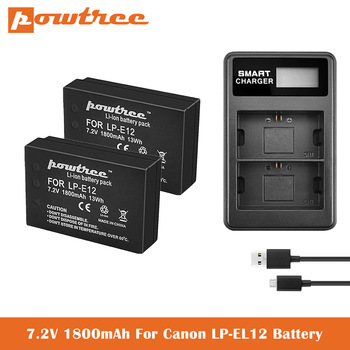 LP-E12 Batteries+Dual Charger for Canon SX70 HS Rebel SL1 EOS-M EOS M2 EOS M10 EOS M50 EOS M100 EOS M200 Mirrorless Digital Came canon eos m200 kit 15 45 is stm белый