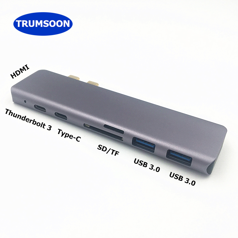 Trumsoon USB <font><b>3</b></font>.1 Typ C zu HDMI 4K USB <font><b>3</b></font>.0 <font><b>Thunderbolt</b></font> <font><b>3</b></font> USB-C Konverter <font><b>SD</b></font> TF Kartenleser Adapter für Neue macbook Air Pro image