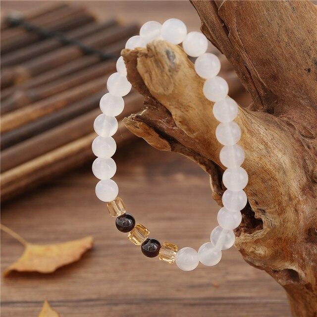 7mm Natural White Chalcedony Bracelets & Bangle For Women Jewelry Buddha Elastic Yoga Stone Bead Bracelet Drop Shipping 1