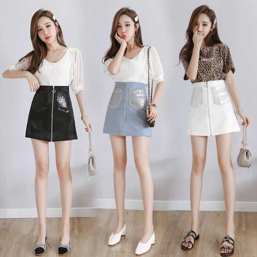 Été nouveau Streetwear a-ligne jupe femmes mode poches paillettes fermeture éclair conception jupes de fête