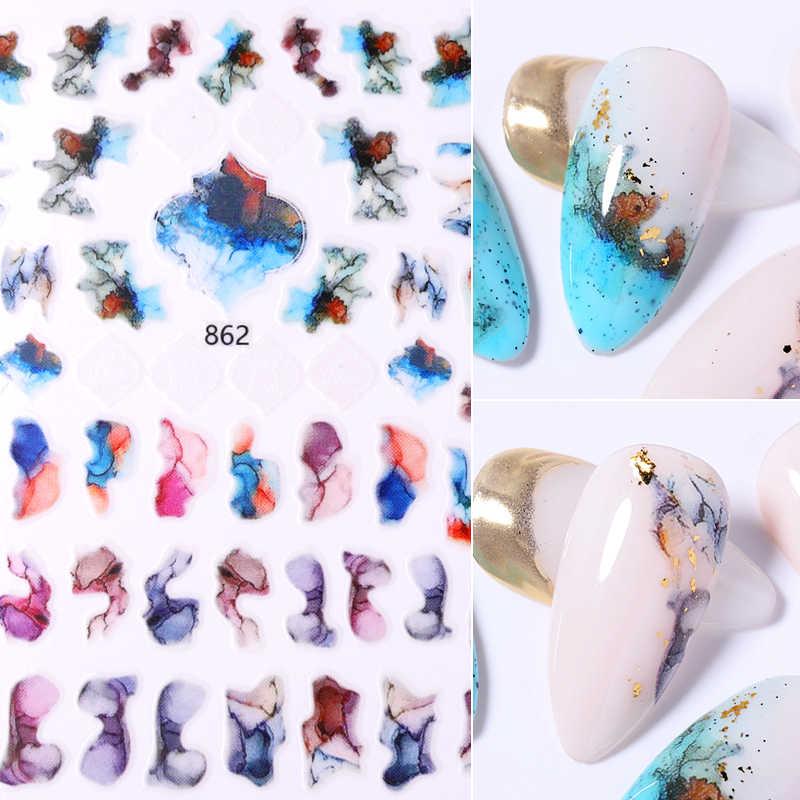 หินอ่อนBloomingสติกเกอร์สำหรับเล็บทำเล็บมือญี่ปุ่นสีเย็บเล็บการออกแบบศิลปะสติกเกอร์กาวเทปตกแต่งเล็บ
