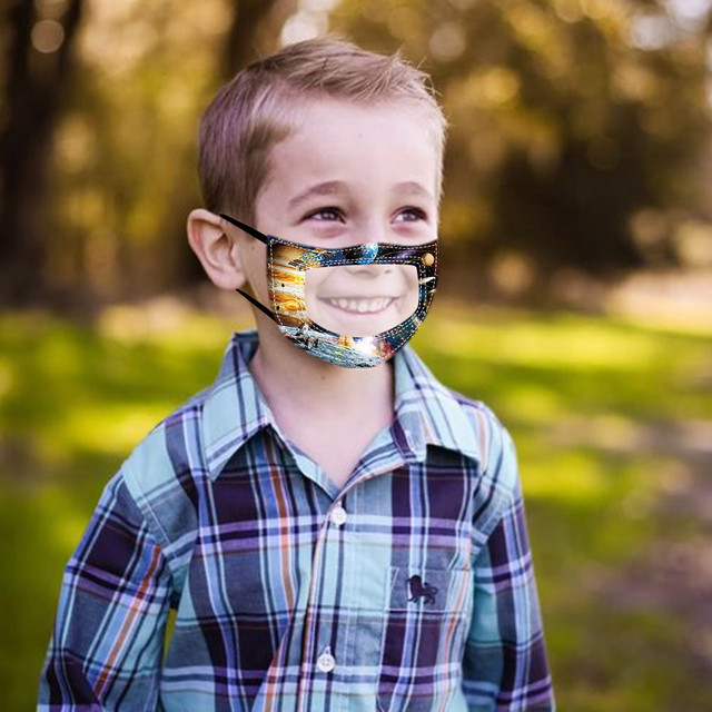 10PC Children Outdoor Mask With Clear Window Visible Expression For Deaf Mute For Protection For Adults Scarf Flag Bandana#3 3