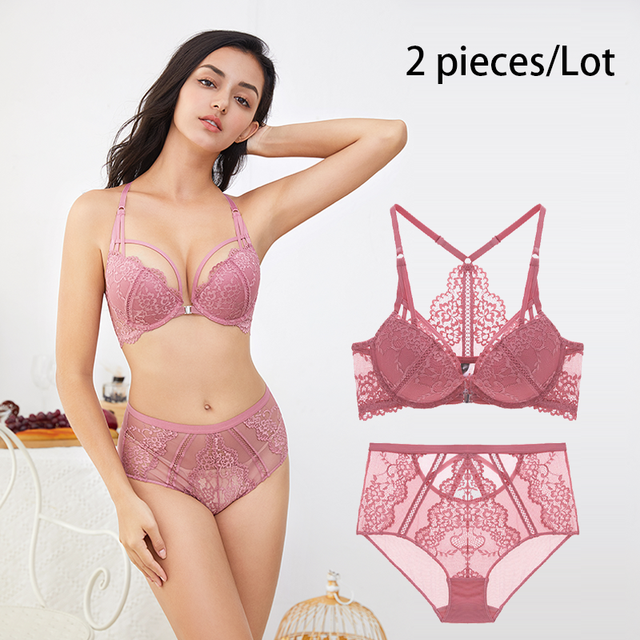 Varsbaby  Sexy floral lace front closure push up underwear Y line straps deep V 3/4 cup  bra and high waist panties set