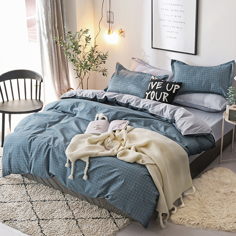 Nordic Bedding Set Queen Size Bed Linen Duvet Cover Single Sets Printed Double King Flat Sheet Plaid Geometric Bedclothes Plain