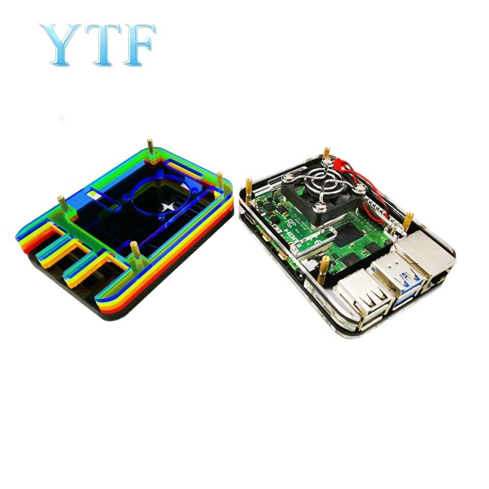 Raspberry Pi 4B Shell 4 Generation B Type Box Black / Rainbow Contains A Fan