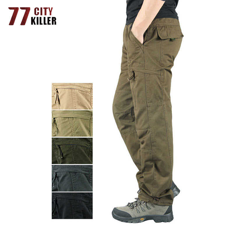 Men/'s Casual Overall Cotton Pockets Cargo Pants Military Work Pants Long Trouser