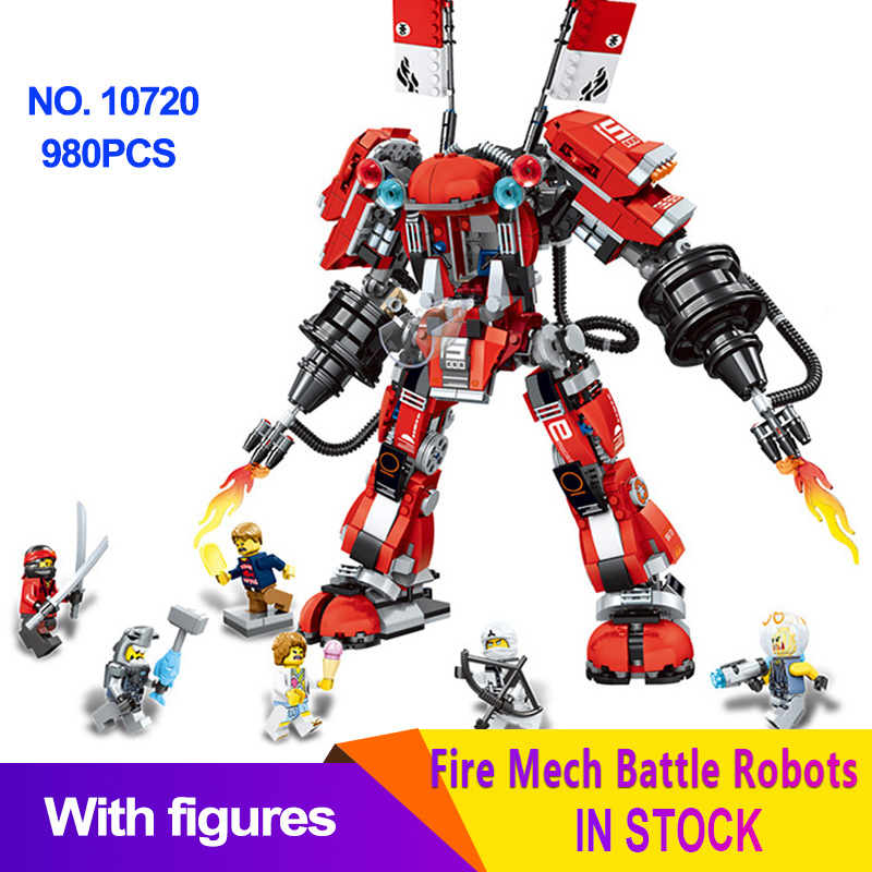 Ninjago Battle Machine Armor Fire Mech Model Red Robots Flame Building Blocks Bricks Compatible LegoingLYs 70615 Educational Toy