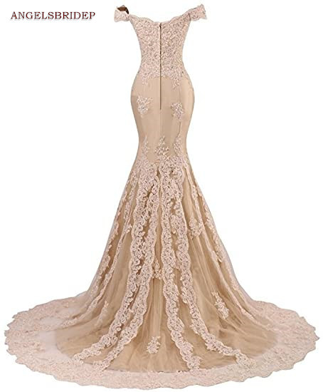 ANGELSBRIDEP Off-Shoulder Mermaid Prom Dresses Fashion Applique Crystal Court Train Vestidos de festa Abendkleider Party Gowns 3