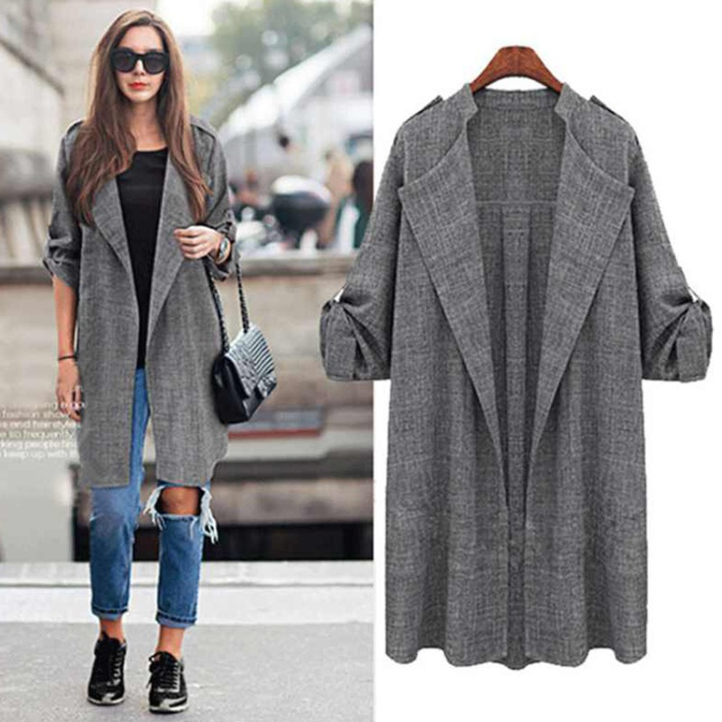 Autumn Women's Cardigan Wool Blends Cardigan Jacket For Ladies Autumn&Winter Women Fashion Long Sleeve Grey Casual Coat