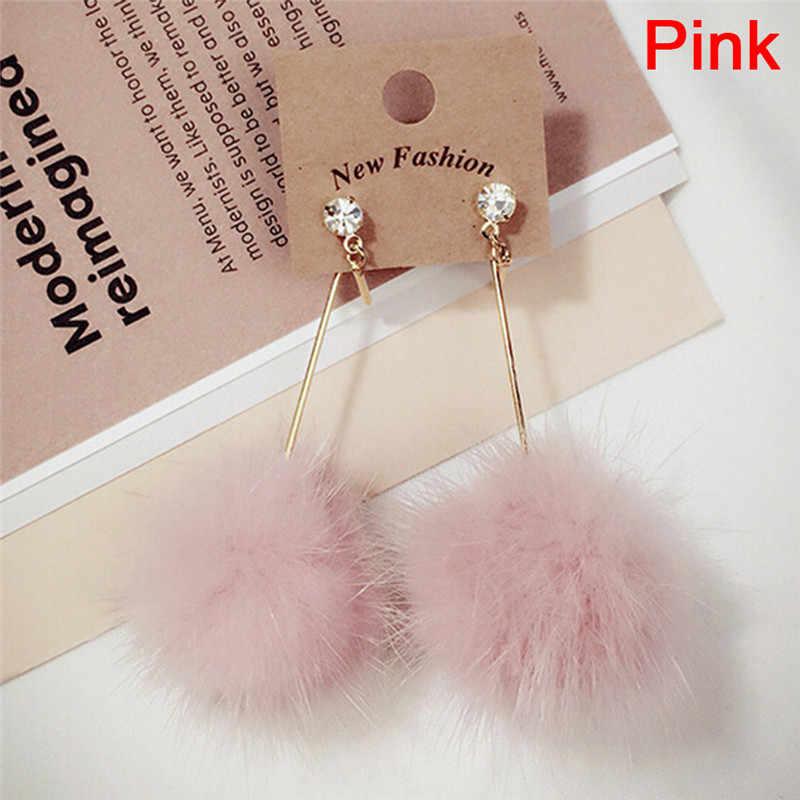 1 par de coelho macio bola pompom longo gota brincos pom orelha balançar cristal brinco para as mulheres jóias bonito presente natal
