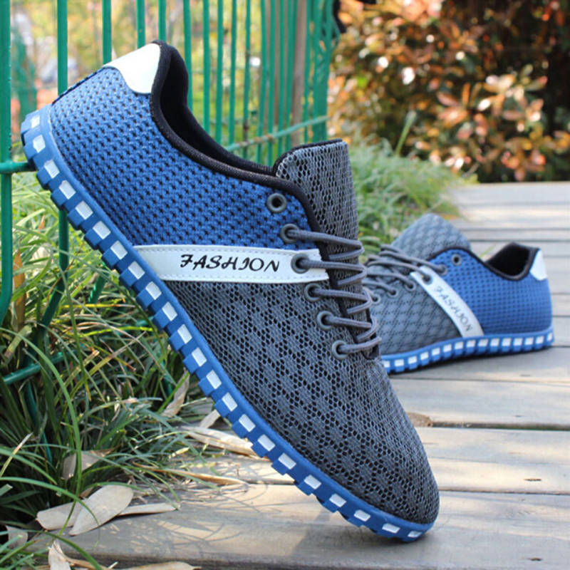 Men Sports Shoes Air Mesh Breathable Sneakers Men's Sport Walking Shoes Fabric Cloth Patchwork Leisure Canvas Shoes Big Size 46