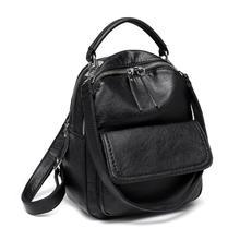 цена на Mini Backpack Purse Faux leather Flap Front Pocket Convertible Backpack Should Bag for Women Black
