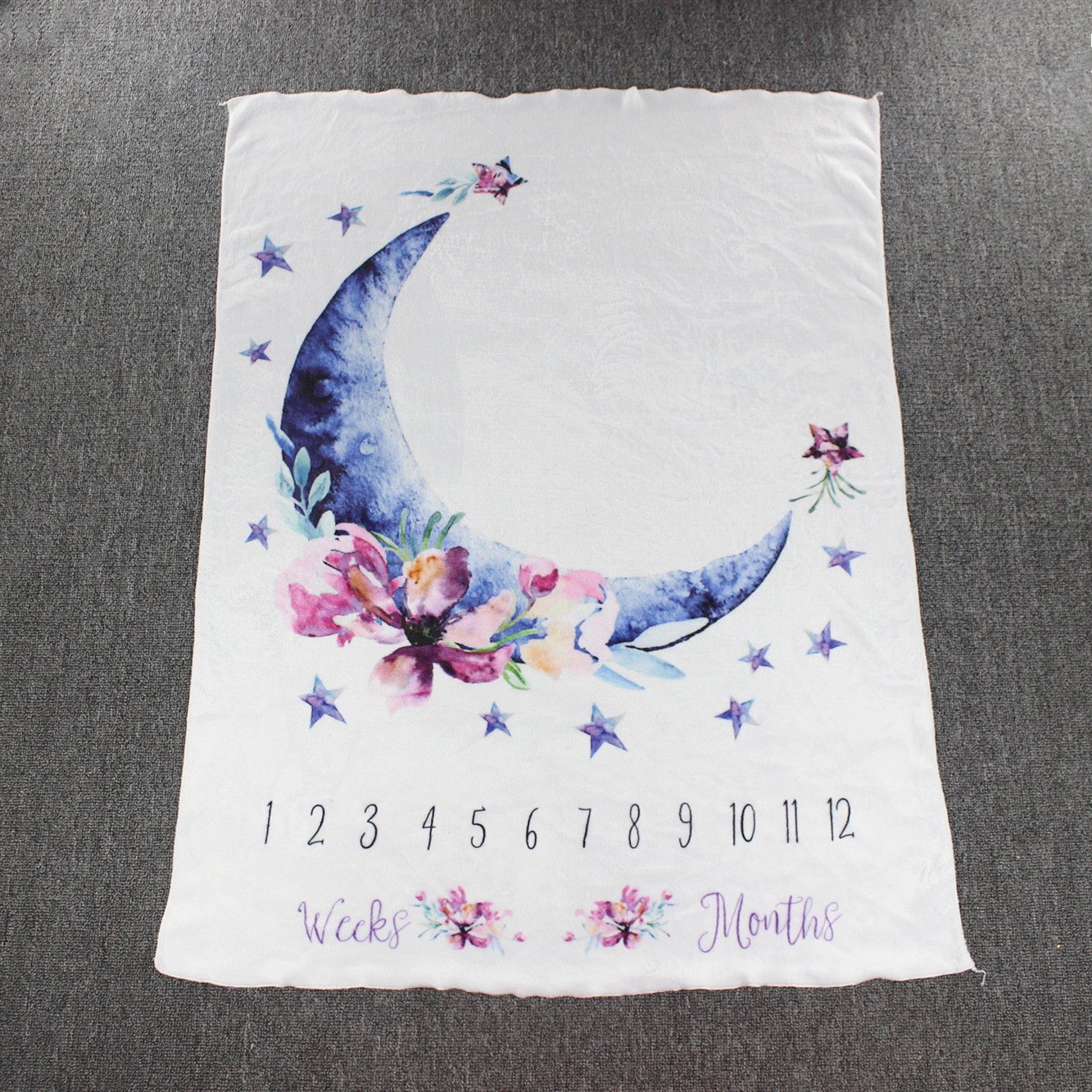 Baby Milestone Blanket Infant Photography Props Shooting Growth Monthly Blankets Flannel Swaddle Wraps Moon Background Cloth