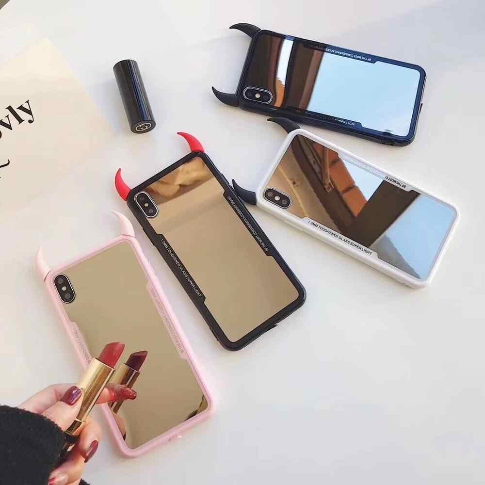 Accessori X Phon.Mirror Phone Case For Iphone X Xs Max Xr 3d Devil Horn Cover