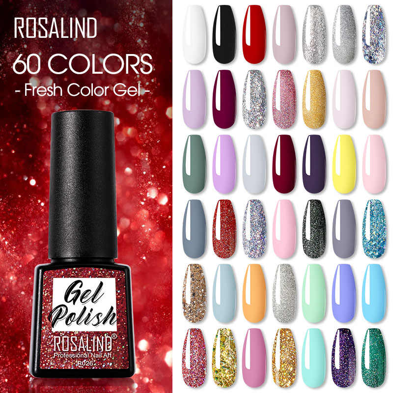 Rosalind 7.3Ml Gel Polish Vernissen Hybrid 60 Kleuren Nails Art Voor Manicure Soak Off Uv Nodig Base Top Primer gel Nagellak