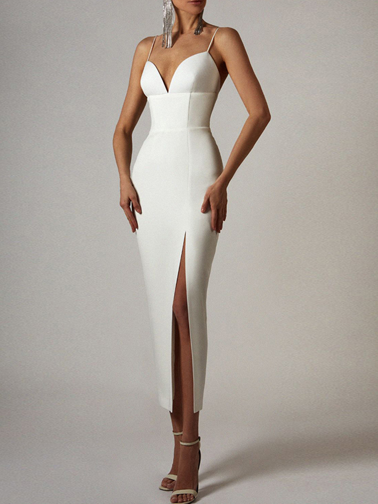 Bandage Dress Spaghetti-Strap Celebrity Runway Club Adyce Vestidos Party White Bodycon