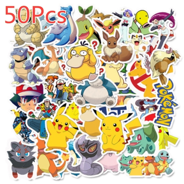 40/50/100 Pcs Pokemons Stickers For Luggage Skateboard Phone Laptop Moto Bicycle Wall Guitar Sticker DIY Waterproof Sticker 2