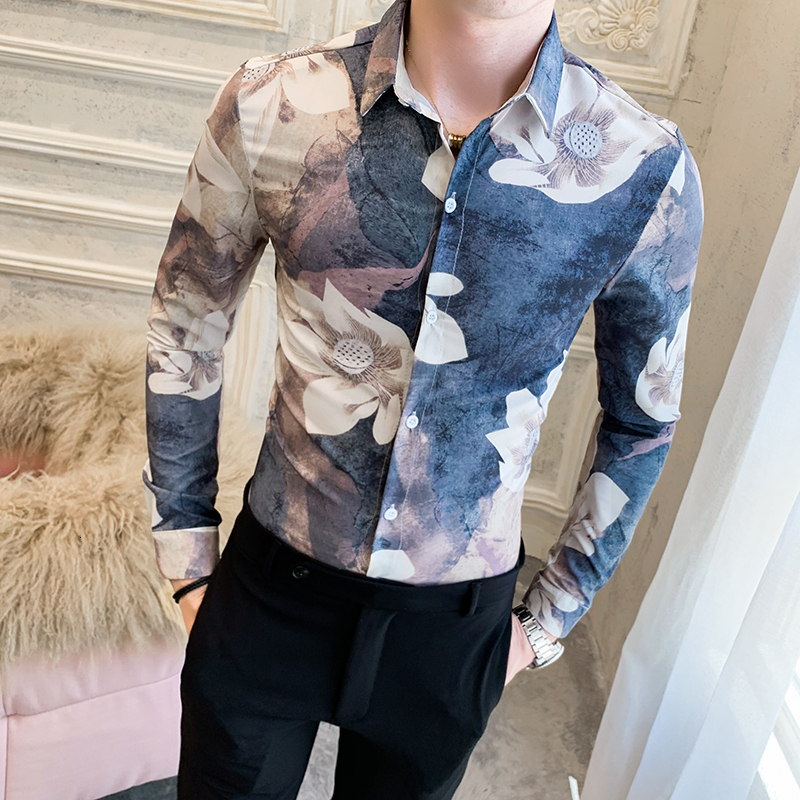 Heren Hemden Retro Print Shirt Men Long Sleeve Shirt Autumn Male Flower Shirt Printing Korean Clothes Men Vetement Homme Outfit