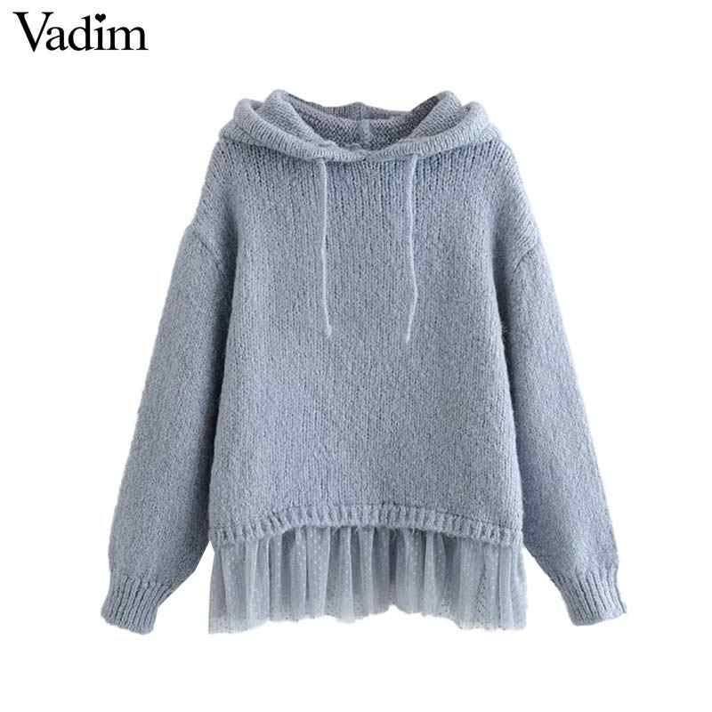 Vadim women sweet hooded sweaters mesh patchwork long sleeve solid pullovers preppy style female casual chic cute tops HA583
